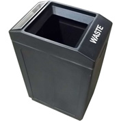 Forte 39 Gallon Sidekick™ Open Top Waste Container w/Ashtray, Black - 8002044