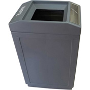 Forte 39 Gallon Sidekick™ Open Top Waste Container w/Ashtray, Gray - 8002045