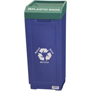 Forte 39 Gallon Open Top Plastic Recycle Bin - Plastic Bags, Blue Base/Green Top - 8002476