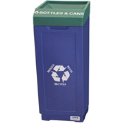 Forte 39 Gallon Open Top Plastic Recycle Bin - Bottles & Cans, Blue Base/Green Top - 8002477