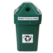 Forte 45 Gallon Plastic Recycle Bin for Bottles & Cans, The Burly™, Green - 8002816