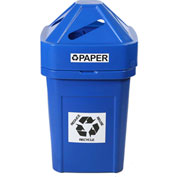 Forte 45 Gallon Plastic Recycle Bin for Paper, The Burly™, Blue - 8002819