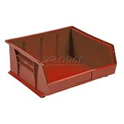 Global™ Plastic Stacking Bin 11x10-7/8x5 - Red - Pkg Qty 6