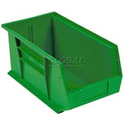 Global™ Plastic Stacking Bin 5-1/2x14-3/4x5 - Green - Pkg Qty 12