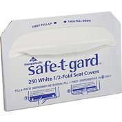 GP Safe-T-Gard White 1/2 Fold Toilet Seat Covers, 250 Covers/Pack, 20 Packs/Case