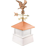 "Good Directions 18"" Square Manchester Vinyl Cupola w/ Cottage Eagle Weathervane"
