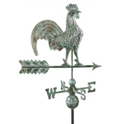 "Good Directions 25"" Rooster Weathervane, Blue Verde Copper"