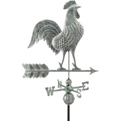 "Good Directions 27"" Rooster Weathervane, Blue Verde Copper"