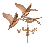 "Good Directions 42"" 3 Geese in Flight Estate Weathervane, Polished Copper"
