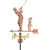 Good Directions Golfer Weathervane, Polished Copper