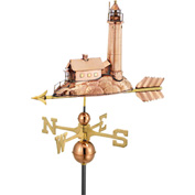 Good Directions Lighthouse Weathervane, Polished Copper