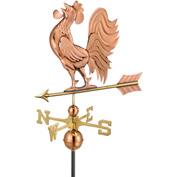 Good Directions Crowing Rooster Weathervane, Polished Copper