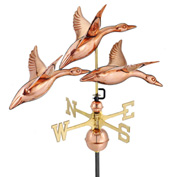 "Good Directions 28"" 3 Geese in Flight Weathervane, Polished Copper"