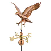 Good Directions Attack Eagle -Weathervane, Polished Copper