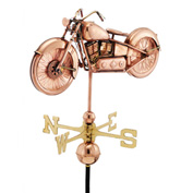 Good Directions Motorcycle Weathervane, Polished Copper