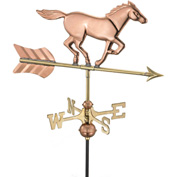 Good Directions Horse Garden Weathervane, Polished Copper w/Garden Pole