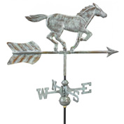 Good Directions Horse Garden Weathervane, Blue Verde Copper w/Roof Mount