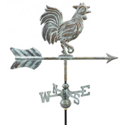 Good Directions Rooster Garden Weathervane, Blue Verde Copper w/Roof Mount