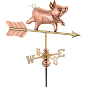 Good Directions Whimsical Pig Garden Weathervane, Polished Copper w/Roof Mount
