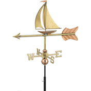 Good Directions Sailboat Garden Weathervane, Polished Copper w/Roof Mount