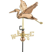 Good Directions Blue Heron Garden Weathervane, Polished Copper w/Roof Mount