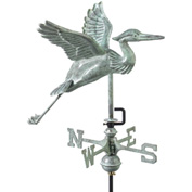 Good Directions Blue Heron Garden Weathervane, Blue Verde Copper w/Roof Mount