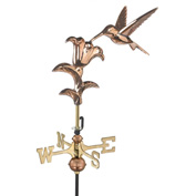 Good Directions Hummingbird Garden Weathervane, Polished Copper w/Roof Mount