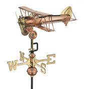 Good Directions Biplane Garden Weathervane, Polished Copper w/Roof Mount