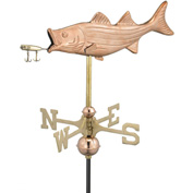 Good Directions Bass w/ Lure Garden Weathervane, Polished Copper w/Roof Mount