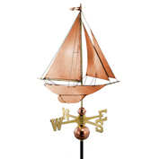 Good Directions Racing Sloop Weathervane, Polished Copper