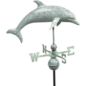 Good Directions Dolphin Weathervane, Blue Verde Copper