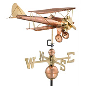 Good Directions Biplane Weathervane, Polished Copper