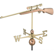 Good Directions Rifle w/ Scope Weathervane, Polished Copper