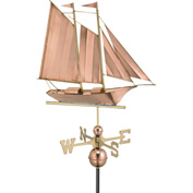 Good Directions Schooner Weathervane, Polished Copper