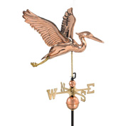 Good Directions Blue Heron Weathervane, Polished Copper