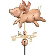Good Directions Flying Pig Weathervane, Polished Copper