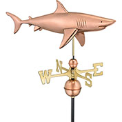 Good Directions Shark Weathervane, Polished Copper