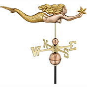 Good Directions Mermaid with Starfish Weathervane - Polished Copper with Golden Leaf Finish