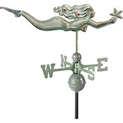 Good Directions Mermaid w/ Starfish Weathervane, Blue Verde Copper