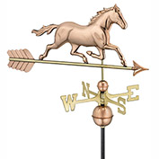 Good Directions Trotting Horse Weathervane - Polished Copper