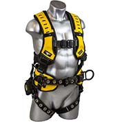 Guardian 493061, Halo Construction Harness With Trauma Strap, Pass Thru Chest Connection, M-L