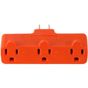 GoGreen Power, 3 Outlet Tri-Tap Rubber Adapter, GG-03418ORB, Orange - Pkg Qty 24