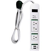 GoGreen Power, GG-13103USB, 3 Outlet Surge Protector, USB Surge - 3 Ft Cord - White
