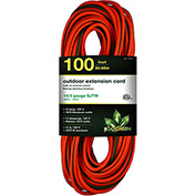 GoGreen Power, GG-13800, 100 Ft Extension Cord, 14/3, Orange/Green