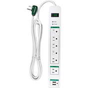 GoGreen Power, GG-16326USB, 6 Outlet Surge Protector, USB Surge - 6 Ft Cord - White
