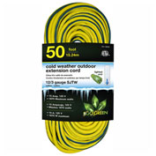 GoGreen GG-18050 12/3 50' Cold Weather Outdoor Extension Cord, Yellow w/Green Stripe. Lighted End
