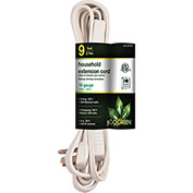 GoGreen Power, GG-24709, 9 Ft Household Extension Cord - White