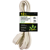 GoGreen Power, GG-24712, 12 Ft Household Extension Cord - White