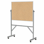 "Ghent® Mobile Reversible Double Sided Cork Board, Aluminum Frame, 53-1/4""W x 78-1/4""H"
