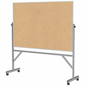 "Ghent® Mobile Reversible Double Sided Cork Board, Aluminum Frame, 77""W x 78-1/4""H"